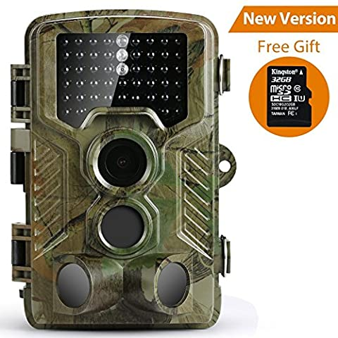 Trail Camera, Coolife Wildlife Camera Hunting Game Camera with Night Vision, 16MP 1080P HD Infrared Sensor Waterproof Deer Camera Surveillance Scouting(32G SD Card (Thermal Cameras For Sale)