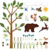 interesting kidsroom wall mural My Wonderful Walls Forest Wall Sticker Set – 37 Peel & Stick Woodland Decals for Nature Theme Baby Nursery and Kids Forest Room