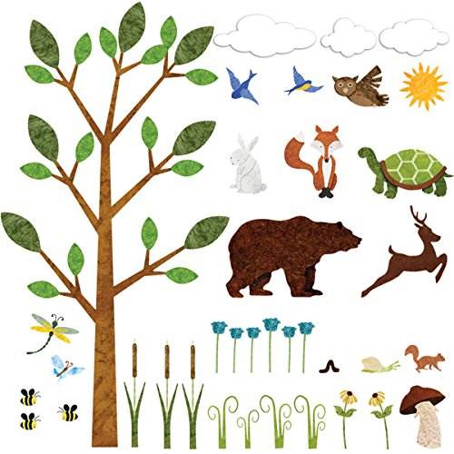 My Wonderful Walls Forest Wall Sticker Set – 37 Peel & Stick Woodland Decals for Nature Theme Baby Nursery and Kids Forest -