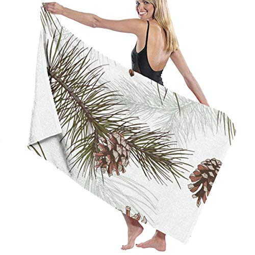 Dazgv Pine Branches Cones Forest Wood Pattern Useful Printed Bath Towels Cotton Beach Towel One Size ()
