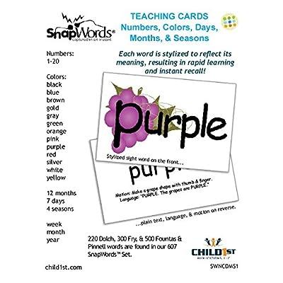 SnapWords Numbers, Colors, Days, Months, Seasons Teaching Cards: Industrial & Scientific