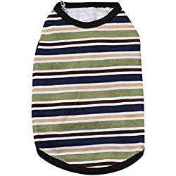 Voberry Small Dog Shirt Pet Dog Summer T-Shirt Dog Cat Striped Cotton Vest Shirt (S, Black)