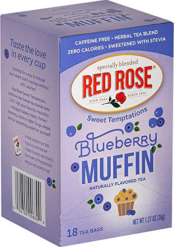 Red Rose Sweet Temptations Blueberry Muffin Tea, 18 Tea Bags (Pack of 6). Packaging May Vary. ()
