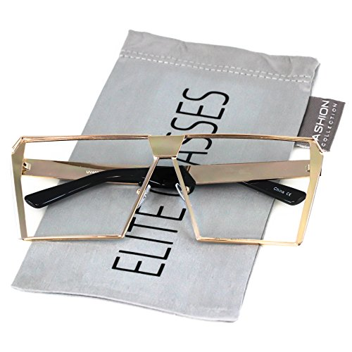 Elite Oversized Flat Top Metal Square Sleek Retro Silver Gold Clear Lens Sunglasses (Rose Gold, - Metal Flat