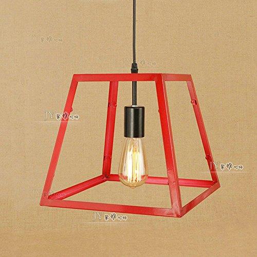 Cubo Industrial Lámpara Colgante de Techo Rojo Vintage Industrial Retro Metal Jaula Loft Bar Lámpara Colgante de Luz E27...