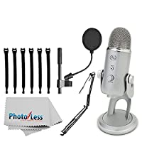 """Blue Yeti USB Microphone (Silver) + On-Stage MBS5000 Broadcast/Webcast Boom Arm w/ XLR Cable + On Stage Pop Blocker 4"""" + Op/Tech Strapeez + Photo4Less Camera & Lens Cleaning Cloth – Full Bundle"""