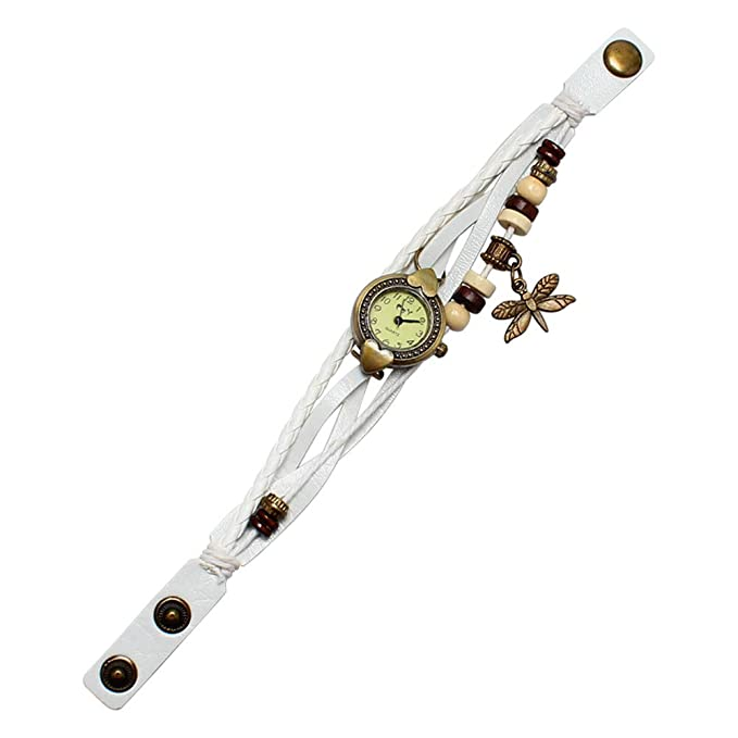 JiaMeng Pulsera del Reloj Antiguo libélula mujer pulsera anillo de mano reloj de pulsera de regalo