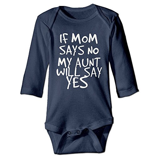 Baby Says Long Sleeve Bodysuit - ZH&XQ BABY ONESIES If Mom Says No, My Aunt Will Say Yes Baby Long Sleeve Jumpsuits