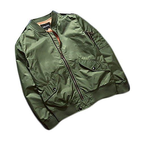 Mu2m Mens Misura Giacca Zip A Vento Cappotto Bomber Volo Rivestimento Di Esterno Solido Frontale Sottile Verde FFwBCrSq
