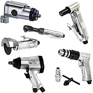 Power Tools Supplies 6p Air Tool Set 3/8 Butterfly 1/2 Impact Angle Die Grinder Drill Ratchet Cut Off