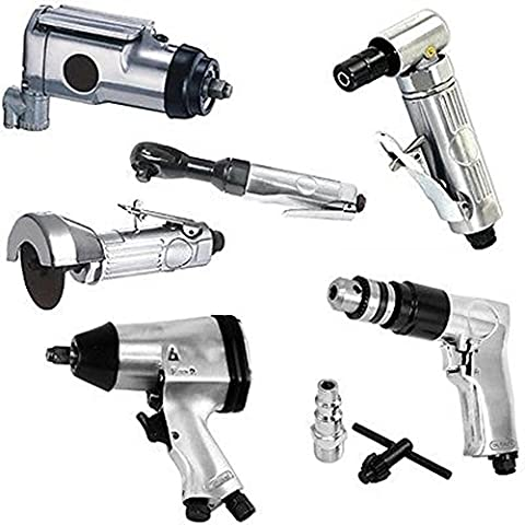 Power Tools Supplies 6p Air Tool Set 3/8 Butterfly 1/2 Impact Angle Die Grinder Drill Ratchet Cut (Cordless Right Angle Die Grinder)