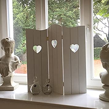 Dekoobjekt Fenster Paravent Shabby Chic Holz Antik Weiss