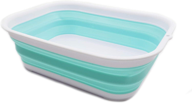 SAMMART 12L (3.17 Gallon) Collapsible Tub - Foldable Dish Tub - Portable Washing Basin - Space Saving Plastic Washtub (1, White/Lake Green)