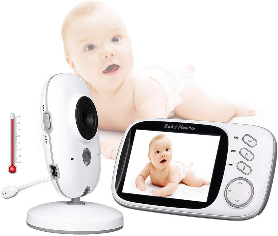 TONGTONG LCD sans Fil Audio Vid/éo Moniteur pour b/éb/é Radio avec Fonction de Surveillance de la temp/érature Nocturne