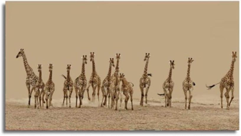 QYH Animales Grandes África Jirafa Carteles Dibujos Animados Pinturas sobre Lienzo Sala de Estar Decoración de la Pared Animales Arte de la Pared Imágenes Decoración del hogar-50X90 Cm Sin Marco