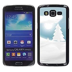 TECHCASE**Cubierta de la caja de protección la piel dura para el ** Samsung Galaxy Grand 2 SM-G7102 SM-G7105 ** White Snow Winter Picea Tree Moon Night