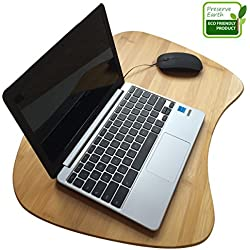 Bamboo Laptop Lap Desk of Extra Large Size | Natural Bamboo Lapdesk Surface with Cushion and Handle | Can Be Used As A Mobile Desk, Bed Tray, Book Stand, Coloring and Writing Table