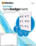 Office Max Laser/Ink Jet Name Badge Inserts, 3''x4'', 6 per Sheet, 300 Labels per Box, White (OM97454)