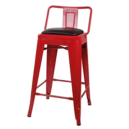 GIA 24-Inch Low Back Stool with Faux Leather Seat, Red Black, 4-Pack