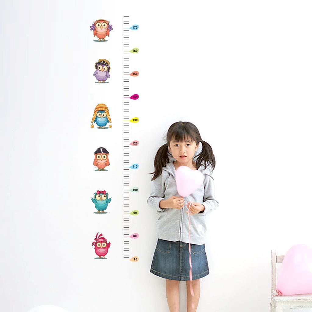 Wffo 1PC 1 Pcs Newest Cute Owl Kids Height Chart Wall Sticker Home Decor Cartoon Animal Height Ruler