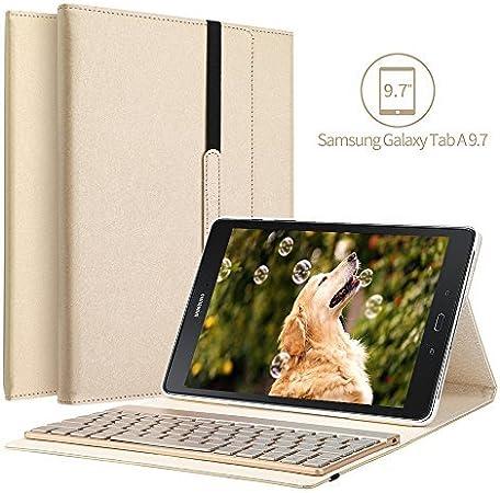 Samsung Galaxy Tab A 9.7 funda para teclado, KVAGO 7 colores retroiluminación teclado extraíble Bluetooth Triple plegables funda de cuero para Samsung ...