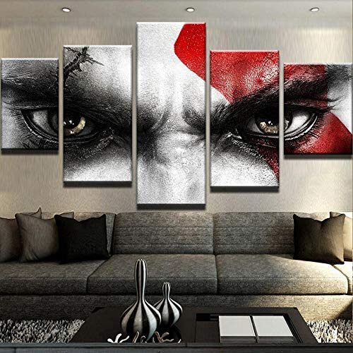 HENANFSLY Home Decoration Hd Prints Pictures 5 Pieces God War Poster Game Paintings Wall Artwork Modular Canvas for Living Room Framed