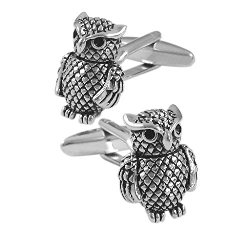 MagiDeal Silver&Black Cute Animal Bird Owl Shaped Copper Business Men's Cufflinks Punk Style Novelty Funny Accessories for Dress Shirt