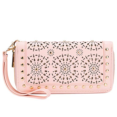 K A Womens Wallet Faux Leather RFID Blocking Purse Credit Card Clutch with Wrist Strap (Blush)
