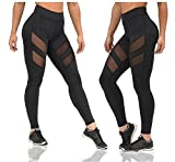 Moon Market Women's Workout Yoga Excercise Gym Ruuninng Stretchy Skinny Sheer Mesh Leggings Tights Capris Pants (L, A)