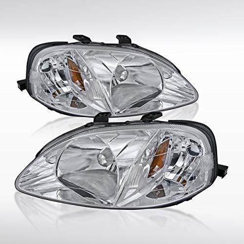 Autozensation For Honda Civic 2/3/4Door Crystal Chrome Clear Headlights - Crystal Civic 4dr Honda