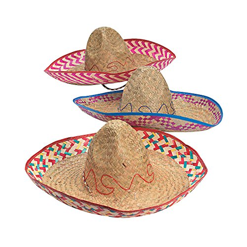 Fun Express (Adult) Embroidered Woven Straw Sombreros, Pack of 12