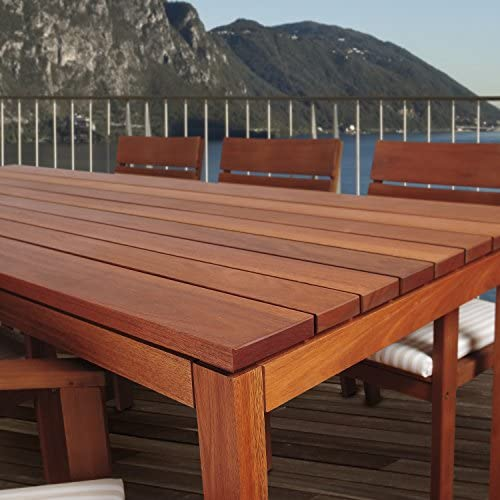 Amazonia Delaware 9-Piece Outdoor Dining Table Set Eucalyptus Wood Ideal