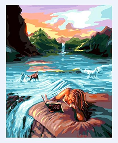 [No Framed] Diy Oil Painting, Paint By Number Home Decor Wall Picture Value Gift Christmas Gift-Reading the mermaid 16x20 inch