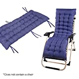 Sun Lounger Cushion Patio Garden Deckchair Recliner Lounge Thick Pad Outdoor Seating Cover Blue