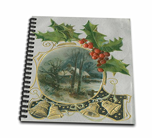 3dRose TDSwhite - Christmas Holidays Xmas - Vintage Holly Berries Golden Bells Christmas Scene - Memory Book 12 x 12 inch - Xmas Berry