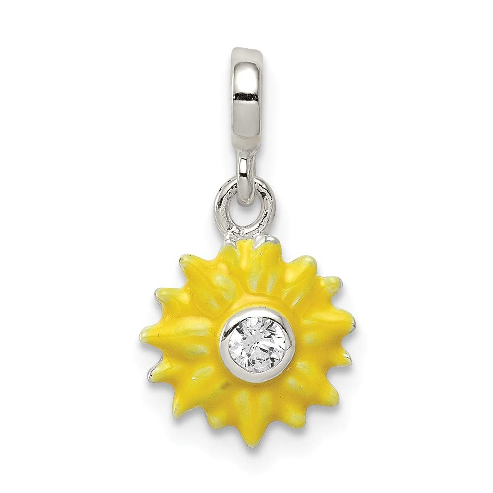 925 Sterling Silver Yellow Enameled Flower with Cubic Zirconia Enhancer Pendant