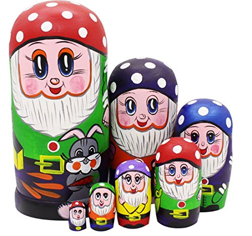 Lovely Gnome Dwarfs with Mushroom Cap and Grey Rabbit Handmade Wooden Russian Nesting Dolls Matryoshka Dolls Set 7 Pieces for Kids Toy Birthday Christmas New Gift Gift Home Decoration (Red)