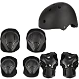 Herbalcandybox Kid's Protective Gear Set with Wrist Guard Knee Pads Elbow Pads Helmet,Black