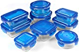 Glass Food Storage Container Set - Blue - BPA Free - FDA Approved - Reusable - Multipurpose Use for Home Kitchen or Restaurant - (18 Piece) - by Utopia Kitchen