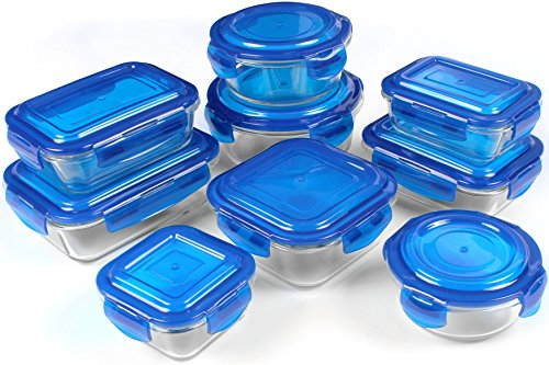 Glass Food Storage Container Set   Blue   18 Pieces Set (9 Containers And 9  Lids)   Reusable   Multipurpose Use For Home Kitchen Or Restaurant   BPA  Free ...