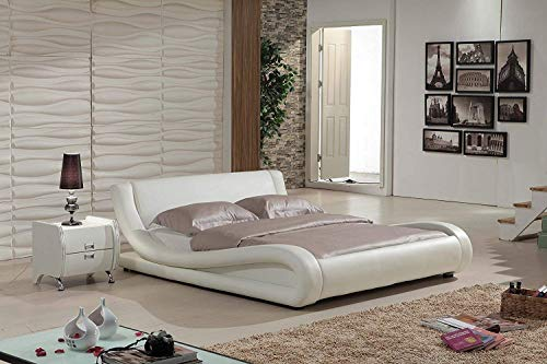 new product f8855 19b44 Container Direct Dona Collection Modern Faux Leather Platform Bed with  Built in Headboard, Ivory, Eastern King