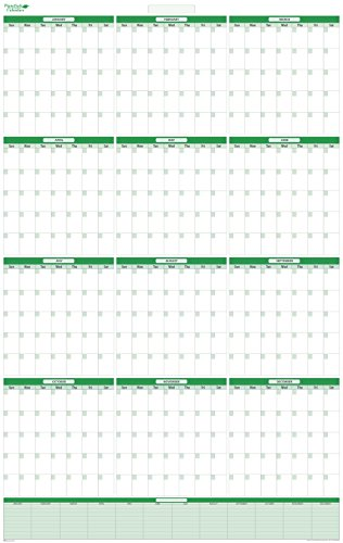 Yearly Undated Vertical Dry-erasable wall planner. January - December - Extra Memo Area. 24