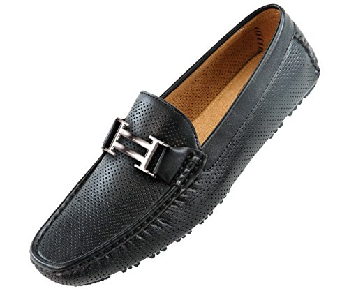 amali-mens-black-perforated-smooth-loafer-driving-shoe-with-silver-double-bar-ornament-style-1052-00