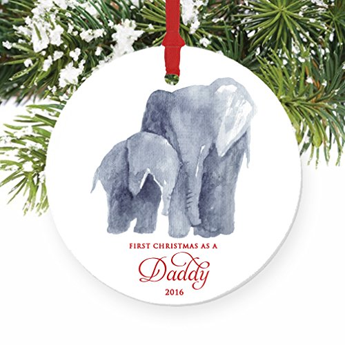 New Daddy Ornament 2016, First Christmas as a Daddy, Baby & Papa Elephant Porcelain Ceramic Ornament,