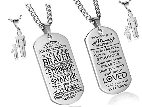 Dog Tag Gifts - C&L Pack of 2 to My Son to My Daughter Always Remember You are Braver Than You Believe Quotes Dog Tags Pendant Necklace Love Gift