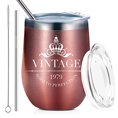 1979 40th Birthday Gifts for Women and Men Wine Glass Tumbler - Funny Anniversary Gift Ideas for Her, Mom, Wife - Insulated Stainless Steel Travel Tumbler with Lid and Straw (12 oz, Rose Gold)