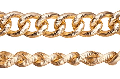 Aluminum Chain, Gold-Finished, Silk Stripe Textured Links, 5.5mm Wire 21X17.5mm Sold Per 5Ft