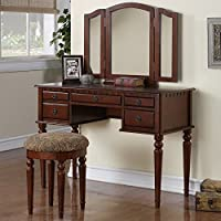 1PerfectChoice Tri Folding Mirror Vanity Set Makeup Table Dresser w/ Stool 5 Drawer Cherry Wood