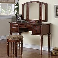 1PerfectChoice Tri Folding Mirror Vanity Set Makeup Table Dresser w/ Stool 5 Drawer Cherry Wood
