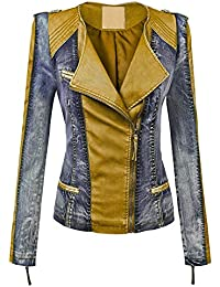 WJC1018 Womens Faux Leather Collarless Denim Jacket XS Camel